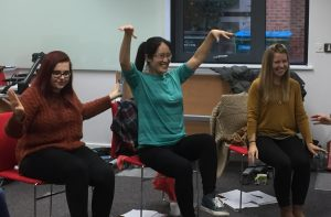 Trent Dementia image: three women enjoying the Dance and Dementia workshop