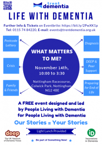 trentdementia.org.uk image: What Matters to You? Event poster