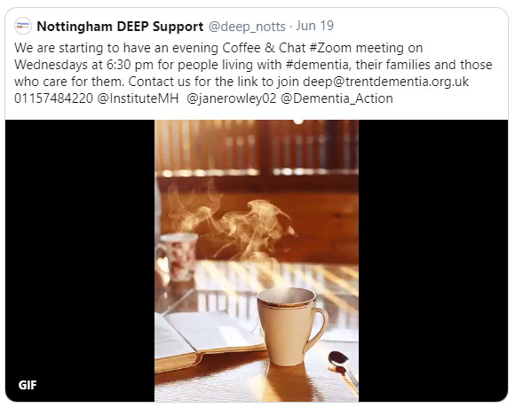 Due to popular demand, we are going to start an evening Coffee & Chat meeting for people living with dementia and their families from 1st July, 2020.