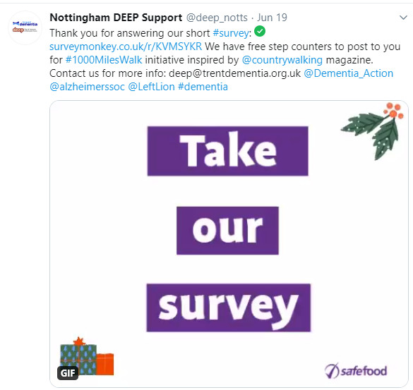 Tweet asking people to take our survey