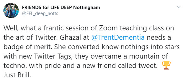 Ghazal helped friends living with dementia and their families to learn about how to use Twitter: Marion, Graham and Keith were present.