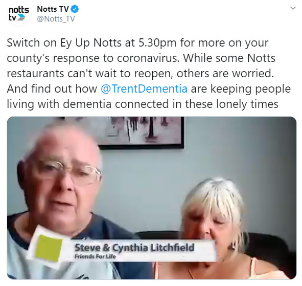 On 24th June, Notts TV showed how Trent Dementia charity helps people living with dementia and their families being connected and active.