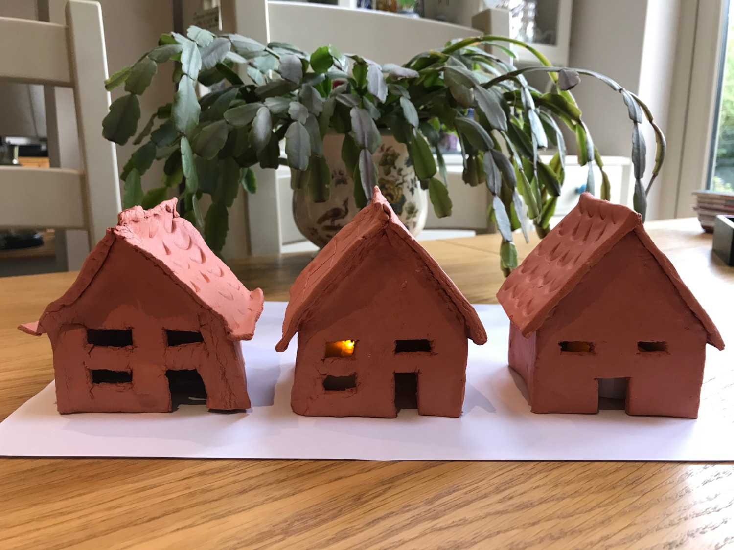 Clay houses made by our dear Janette in one of Coffee & Chat Zoom meetings with people living with dementia and their families