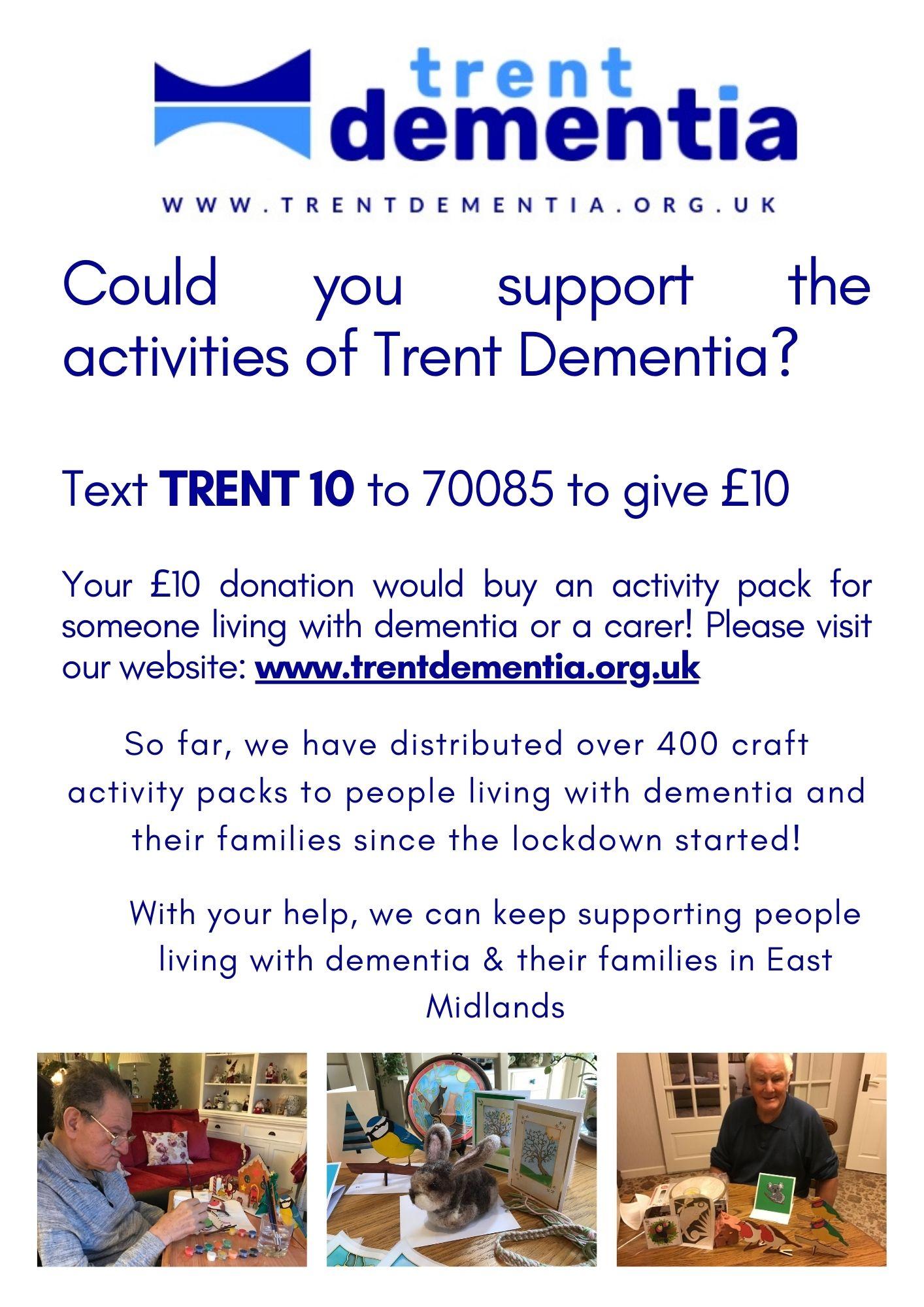 Trent Dementia donation flyer