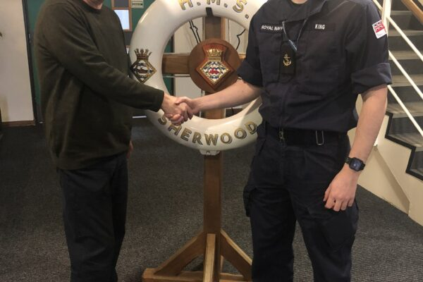Trent Dementia charity's Chair, Professor Tom Dening and Tristan King from HMS Sherwood, our local Naval Unit